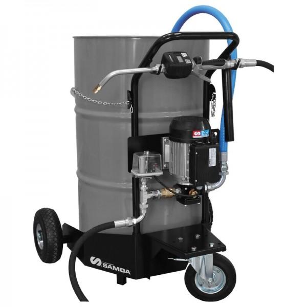 Ölausgabewagen blau,mit 2x feste Rollen u. 2x Lenkrollen mit Feststellbremse,elektrische Pumpe 230Vo